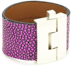 Leighelena Stingray Hot Pink Hologram Wide Buckle Bracelet Leighelena. $105.00. Hot pink hologram. Due to the natural elements of exotic skins, color and pattern will vary. Made in USA. Exotic skin, handmade, made in USA