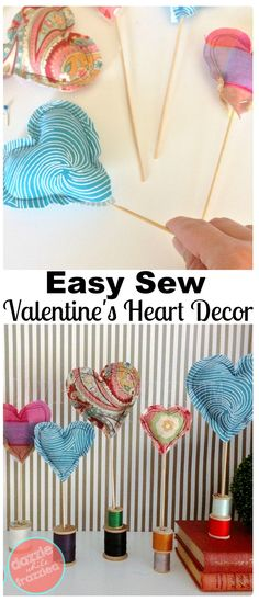 Use fabric scraps to sew easy DIY fabric heart decorations using polyfil and bbq skewers. Make cute home decor and tabletop Valentine's Day heart display. #fabric #valentinesday #easysewingprojects