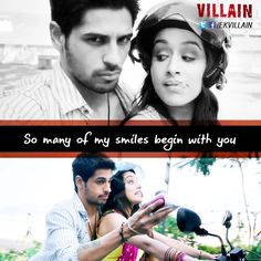 So many of my smiles begin with you Song Lyric Quotes, Film Quotes, Hindi Quotes, Qoutes, Romantic Movie Quotes, Love Romantic Poetry, Ek Villain, Bollywood Quotes, Love Breakup