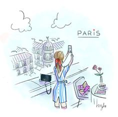 Illustration Parisienne, Paris Illustration, Cute Illustration, Girl Illustrations, Morning Beauty Routine, Me And My Dog, Fall Is Coming, Cute Doodles, Cute Drawings