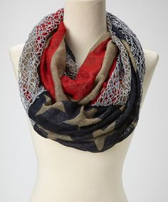 This David & Young Light Gray Flag Infinity Scarf by David & Young is perfect! #zulilyfinds