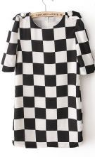 #sheinside  Black and White Plaid Half Sleeve Shift Dress $31.7