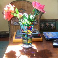 Vase Mosaic Ode to Cubism. Stained glass over Clear Vintage Vase. Six Sided HEAVY Vase. by valnorthwoods on Etsy