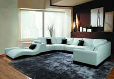 Amazon.com - 2264B Modern White Leather Sectional Sofa -
