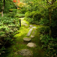 No.43 at Kotoin, Daitokuji Temple, Kyoto, Japan Natural curve of the path and somewhat irregular interval of its stepping stones, together with well-arranged vegetation, lead visitors into the realm of tranquility.