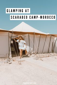 Visiting Morocco and don't have time to visit the Sahara Desert? Glamping at Scarabeo Camp in Morocco is a dream come true! Visit Morocco, Morocco Travel, Africa Travel, Unique Hotels, Best Hotels, Luxury Hotels, Amazing Destinations, Travel Destinations, Travel Trailer Insurance
