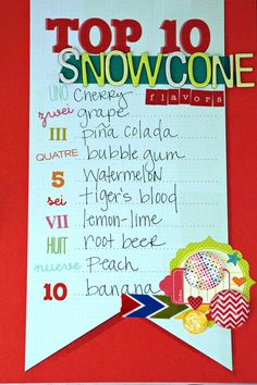 Snow Cone Flavors = Summer. Good to know for SUMMER PARTIES. www.fiskars.com