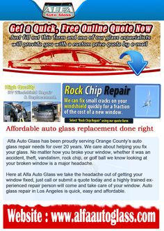Auto Glass Replacement Quote Does Your Car's Windshield Need Repair Contact Alfa Auto Glass For .