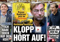 ES IST OFFIZIELL   Jürgen Klopp verlässt BVB zum Saison-Ende!!! Dortmunds Pressekonferenz jetzt LIVE http://www.bild.de/sport/fussball/borussia-dortmund/pressekonferenz-im-livestream-40554194.bild.html http://www.bild.de/sport/fussball/borussia-dortmund/klopp-bittet-bvb-um-vertragsaufloesung-40552596.bild.html