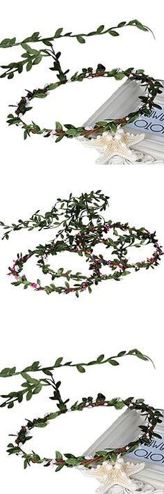 Vivivalue Branch Wreath Headband Crown Floral Halo Headpiece for Festival Wedding Beige