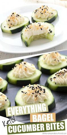 It doesn't get any easier than these delicious keto cucumber appetizers! Fresh cucumber slices with cream cheese and everything bagel seasoning. The perfect low carb snack for hot summer days. snacks low carb Everything Bagel Cucumber Bites Cucumber Appetizers, Cucumber Bites, Cucumber Juice, Vegetarian Appetizers, Health Appetizers, Cucumber Salad, Breakfast Appetizers, No Cook Appetizers, Cucumber Recipes