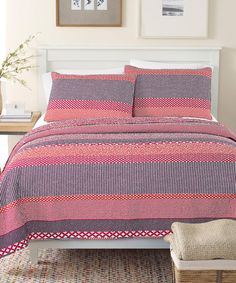 Love this Pink Stripe Quilt Set on #zulily! #zulilyfinds