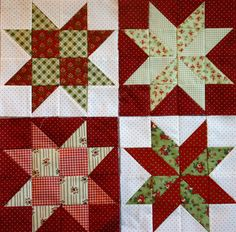 Here are my blocks for the Scatty Christmas Stars quilt that I made ...