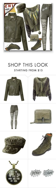 """""""Cool Girls Style Military Green Leather Jacket & Mini Bag"""" by ragnh-mjos ❤ liked on Polyvore featuring Great Plains, WithChic, BCBGeneration, Frye, Edge Only and Michael Michaud"""