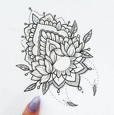 Ornamental moon/flowers print by dotified on etsy mandala tattoos, mandala Hai Tattoos, Sexy Tattoos, Body Art Tattoos, Tattoo Drawings, Sleeve Tattoos, Mandala Tattoo Design, Dotwork Tattoo Mandala, Tattoo Designs, Henna Mandala