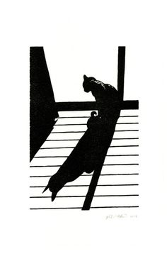 Cat in the Sun Velcro linoleum block print by HungryRonin on Etsy, $25.00