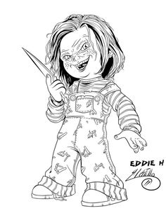 Chucky Coloring Pages Coloring Page Halloween Coloring Skull Coloring Pages, Free Adult Coloring Pages, Halloween Coloring Pages, Cool Coloring Pages, Coloring Pages To Print, Printable Coloring Pages, Coloring Books, Chucky Drawing, Doll Drawing