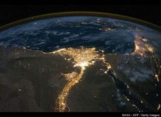 Eqypt and the head of the Nile Delta by night