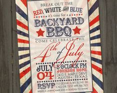Printable 4th of July Invitation  Vintage Fourth of July