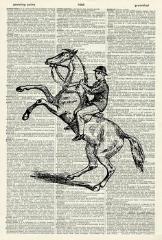 "Horse Art Print - Equestrian Art Print - Vintage Art Print - Vintage Dictionary Art Print - Black & White - BOOK ART PRINT - WALL ART - Illustration - Picture - Wall Hanging - ARTWORK 729D. This striking illustration is printed on a page from a vintage dictionary. The page has a lovely old age colour to it which gives it a wonderful vintage feel. Size of print/page: Approx - 8.25"" x 12.25"" inches This art print would look great framed and would be suitable for any room in the house. There..."
