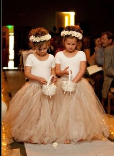Toddler and Child Full Length Ivory and Champagne Tutu - wedding, flower girl, bridesmaid, dedication, communion. $40.00, via Etsy.