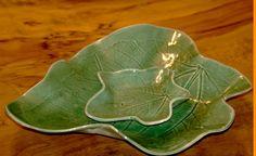 Ceramic leaf plate Leaf plateGreen plateLeaf by ArtPoteryDganitBar