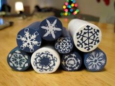 How to make a Fimo cane with snowflake pattern by megnewberg,