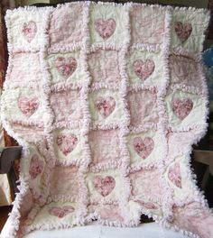 shabby quilt   Baby Girl Quilt Shabby Roses Applique Hearts Rag Quilt Cottage Chic. $ ...