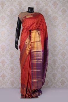 #Pink multicoloured pure kanchipuram #silk enthralling saree with antique #gold multicoloured border -SR11546