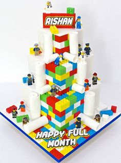 Super fun lego themed cake we had the privilege of making for baby Rishan's full onth party yesterday. lego figurines were provided by orderer, and. Lego Birthday Party, Birthday Parties, Cake Birthday, 8th Birthday, Lego Cake, Cakes For Boys, Minions, Minion Cakes, Savoury Cake