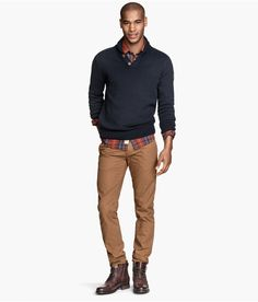 Slim dark camel chinos with pockets, paired with a blue textured sweater & plaid shirt.   H&M For Men