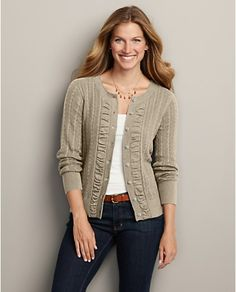 Eddie Bauer Ruched Cable Cardigan (any color but this beige, actually) Cable Cardigan, White Cardigan, Cardigan Sweaters For Women, Women's Sweaters, Cardigans, White Shirt And Blue Jeans, Fall Family Portraits, Fall Looks, Eddie Bauer