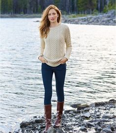 Find the best Women's Signature Cotton Fisherman Tunic Sweater at L. Our high quality Women's Sweaters are thoughtfully designed and built to last season after season. Fall Fashion Outfits, Fall Winter Outfits, Autumn Winter Fashion, Casual Outfits, Cute Outfits, Preppy Fall Outfits, Fall Hiking Outfit, Preppy Fall Fashion, Winter Sweater Outfits