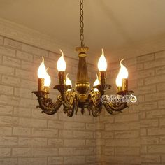 Modern Iron Brass Color Lighting Chandelier Light Antique decoration Lamp Iron Chandelier for Ceiling Chandeliers