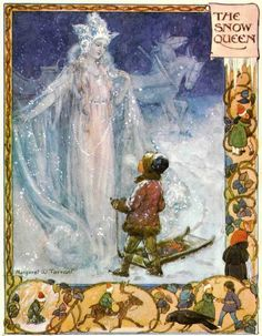 The Snow Queen ~ illustration by Margaret Tarrant  christmas  boy snow sled  art horse fairy