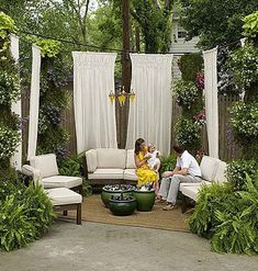 outdoor room with ferns