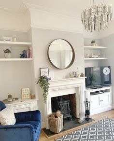 Image may contain: living room, table and indoor - living room - Shelves Living Room Shelves, Living Room With Fireplace, Living Room Grey, Home Living Room, Interior Design Living Room, Living Room Designs, Alcove Ideas Living Room, Log Burner Living Room, Log Burner Fireplace