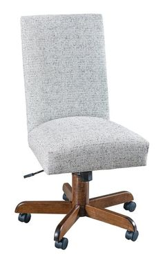 Quick Ship Zeigler Oak Upholstered Desk Chair The Zeigler will have you ready to work with its combination of a traditional base and contemporary top. Choose finish color and go fabric or leather with numerous upholstery options.