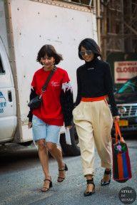 New York SS 2017 Street Style: Alyssa Coscarelli and Yuwei Zhangzou