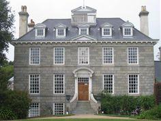 Sausmarez Manor. Saint Martin's, Guernsey. Facade executed 1714-1718. Facade House, House Exteriors, Manor Homes, Country Houses, Historic Homes, Dream Houses, Georgian, Architecture Details, Dream Life