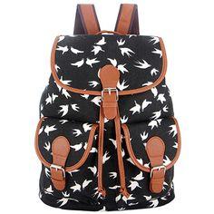 Black white Vintage Rucksack Printing Canvas Women Backpack School Bag