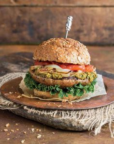 Grilled portobello burger with sun-dried tomato kale-hemp pesto {PHOTO: Angela Liddon}