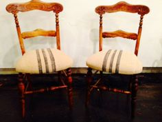 Customer's antique side chairs reupholstered in our vintage feed sacks.