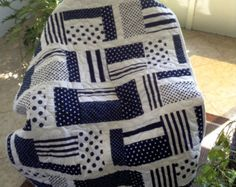 "Baby Quilt - Navy Blue Dots & Stripes -  37"" x 52"" - Navy Blue and White - Ready to Ship"