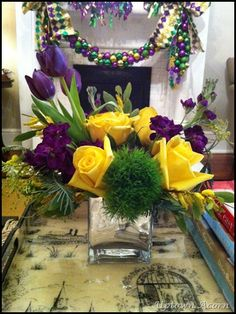 mardi gras color blocking. Tulips or daises in lieu of roses
