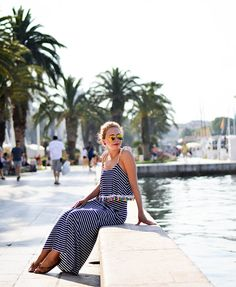 Outfit: Striped maxi dress with pompoms in Split, Croatia - Kationette, Fashionblog