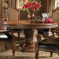 ~ The Renaissance Round Table ~   Designer Collection   Birch Solids, Cherry, Pecan Veneers, and Elm Burl with a Classic Chestnut finish, with marble, and carved accents.   magnoliahall.com