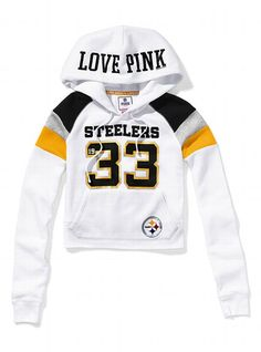 I want this.  My birthday is next month! :) Pittsburgh Steelers Shrunken Pullover Hoodie - Victoria's Secret PINK® - Victoria's Secret