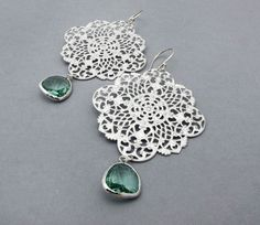 emerald green earrings dangle earrings by SharonClancyDesigns, $30.00