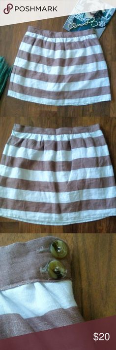 """Cynthia Rowley Brown & White Awning Striped Skirt Cynthia Rowley Brown & White Awning Striped Linen Skirt. Cute double tortoiseshell buttons accent. Lined. Above knee- miniskirt family.  Label size 12.  Good condition.  Fabric - linen.  Waist 16.5"""" Length 17"""".  All measurements are taken flat & are approximate.  Item is stored in a pet & smoke free environment. Cynthia Rowley Skirts"""